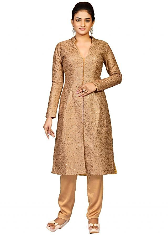 Golden jacket with pant in raw silk featuring in sequin embroidery only on Kalki