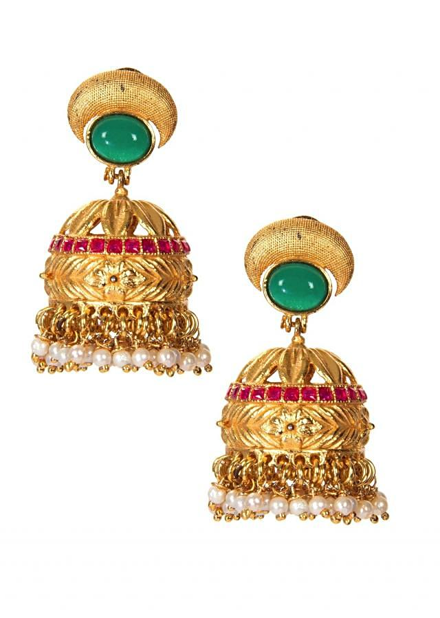 Golden Jhumkas Carved With Kundan And White Pearls only on Kalki