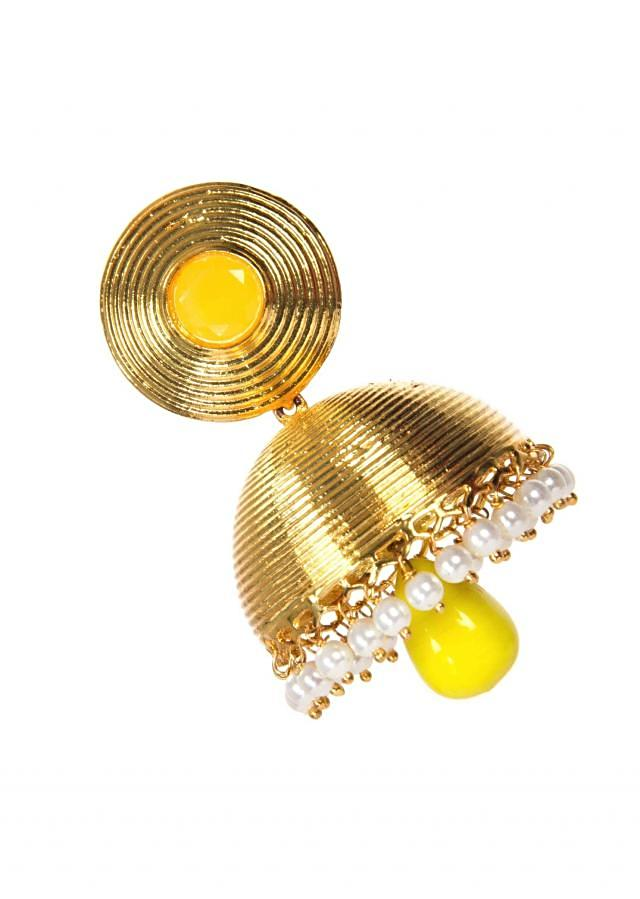 Golden Jhumkas With Yellow Drop Pearls only on Kalki