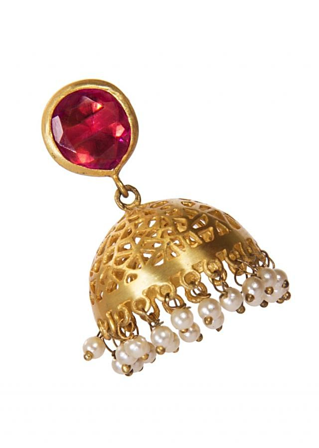 Golden Jhumkis Adorn With Red Gemstone And White Droopers only on Kalki