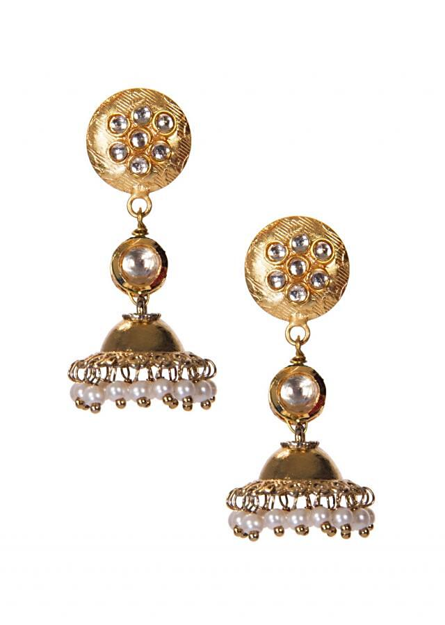 Golden Jhumkis Embellished With Kundan and White Pearl Drops only on Kalki