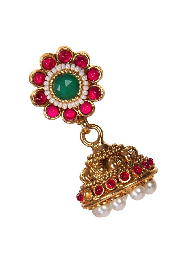 Golden Jhumkis Engraved In Red And Green Gemstones only on Kalki