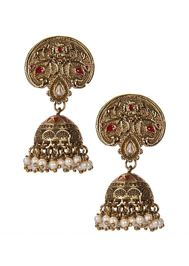 Golden Jhumkis With Pearl Drops only on Kalki