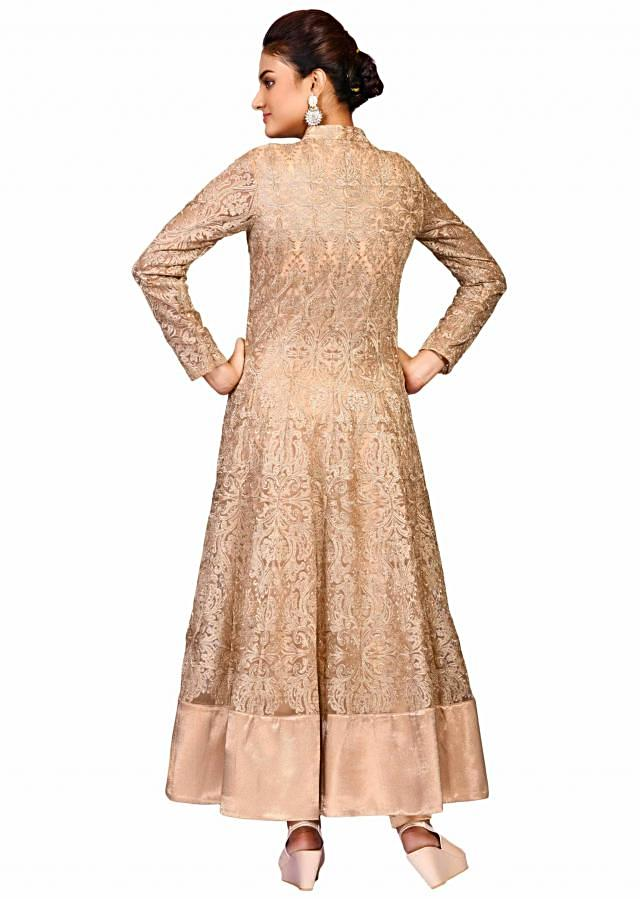 Golden lace jacket in net with pant showcasing the lace embroidery only on Kalki