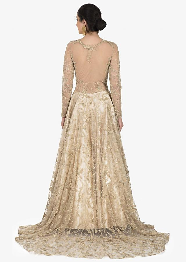 Golden net gown adorn in cutdana and zari embroidery work only on Kalki