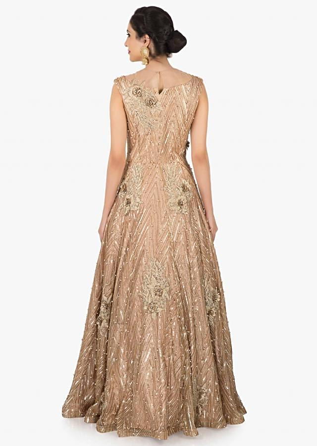 Golden net gown adorn in moti and sequin embroidery work only on Kalki