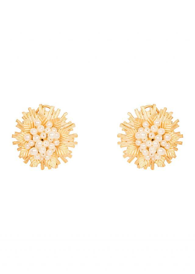 Golden Pearl Stud Earrings only on Kalki