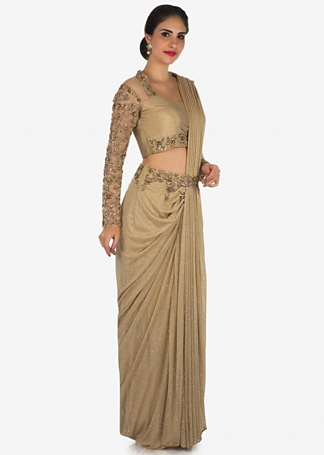 Golden ready pleated saree in lycra heavily embellished in zardosi and moti embroidery work only on Kalki