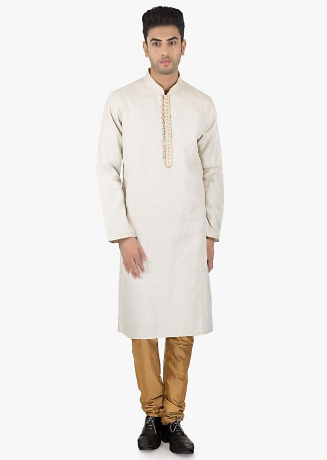 Gracier Grey silk Kurta  with resham and alternate potli buttons and PS silk Sandal Brown chudidar set only kalki