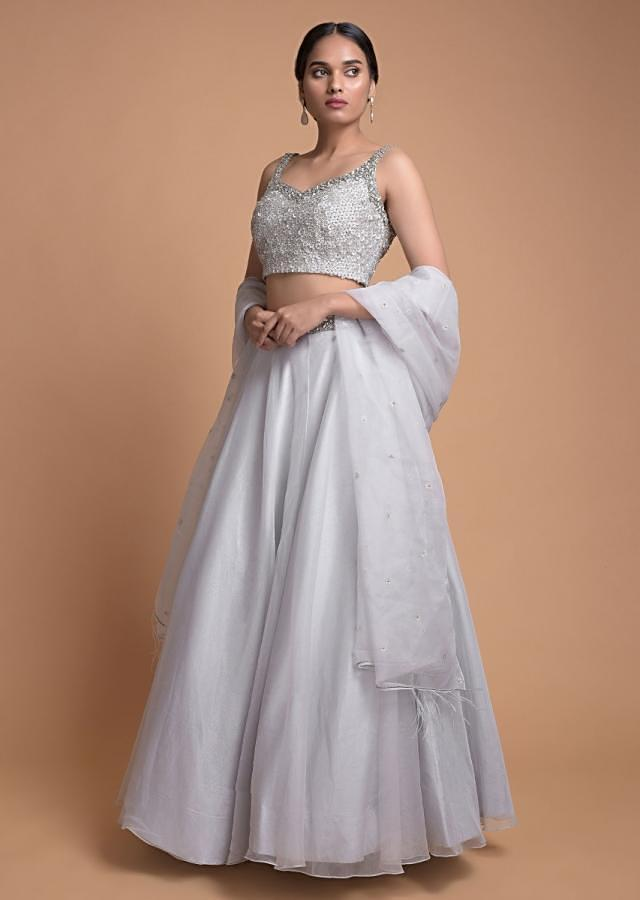 Fog Grey Lehenga With A Matching Crop Top Embellished With Stones And Beads Online - Kalki Fashion