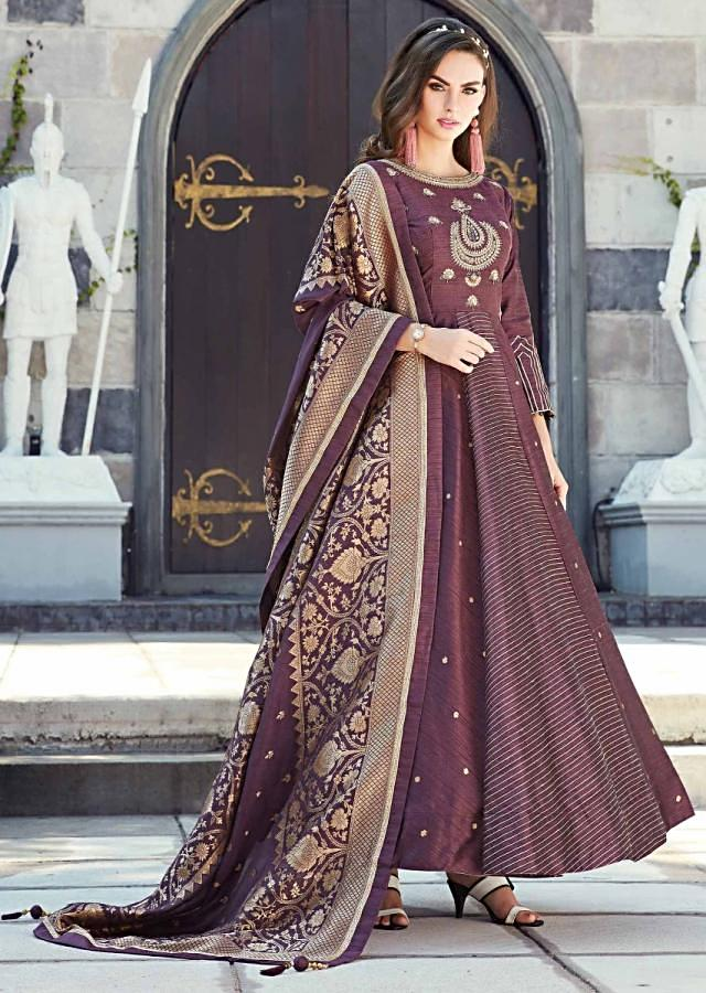 Grape Purple Anarkali Suit In Raw Silk With Brocade Cotton Silk Dupatta Online - Kalki Fashion