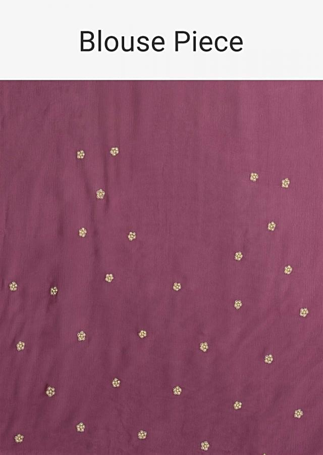 Grape Purple Saree In Chiffon With 3D Floral Applique And Embroidery Work Online - Kalki Fashion