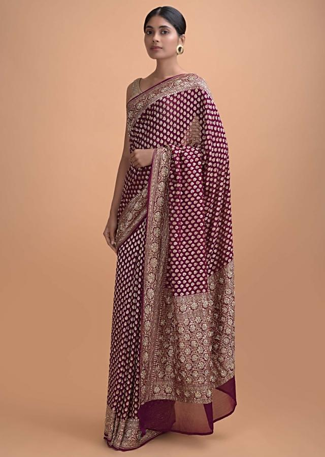 Grape Purple Saree In Chiffon With Embroidery And Weaved Pattern Online - Kalki Online