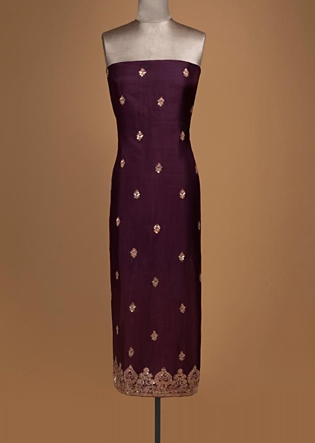 Grape Purple Unstitched Suit In Silk With Gotta Patch Embroidered Buttis Online - Kalki Fashion