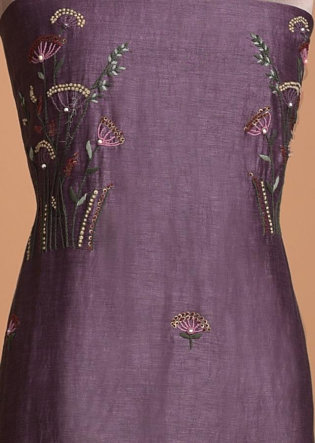 Grape Purple Unstitched Suit In Tussar Silk With Thread Embroidery Online - Kalki Fashion