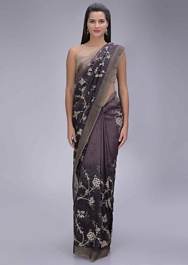 Graphite Grey And Black Saree With Ombre Effect In Cotton Silk With Matching Unstitched Blouse Piece Online - Kalki Fashion
