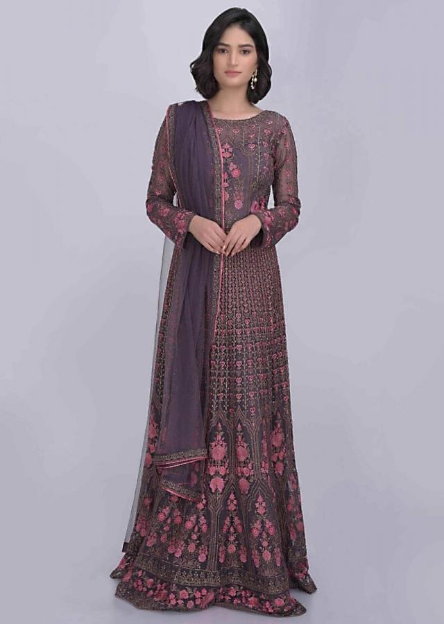 Graphite Grey Anarkali Suit Set In Embellished Net Online - Kalki Fashion