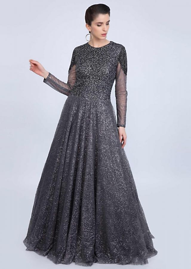 Graphite grey flared ballroom gown adorn with self shimmer beads only on kalki