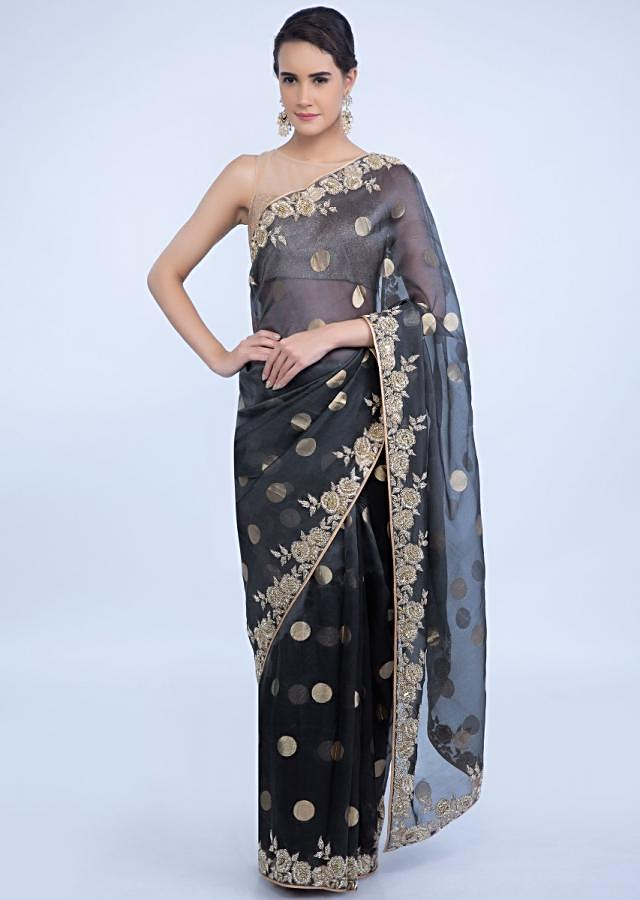 Graphite Grey Organza Saree With Golden Polka Butti Online - Kalki Fashion