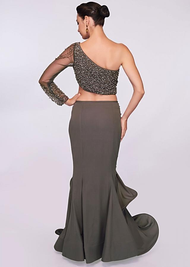 Graphite Grey Skirt In Bias Ruffle Cut Panel Paired With One Shoulder Embroidered Top Online - Kalki Fashion