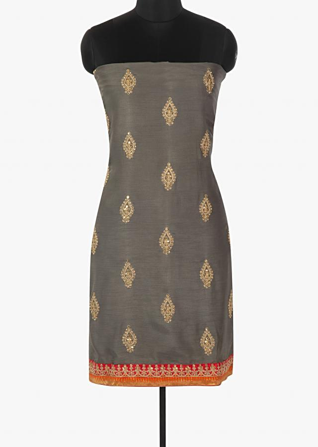 Graphite grey unstitched suit in raw silk with kundan and sequin embroidered butti