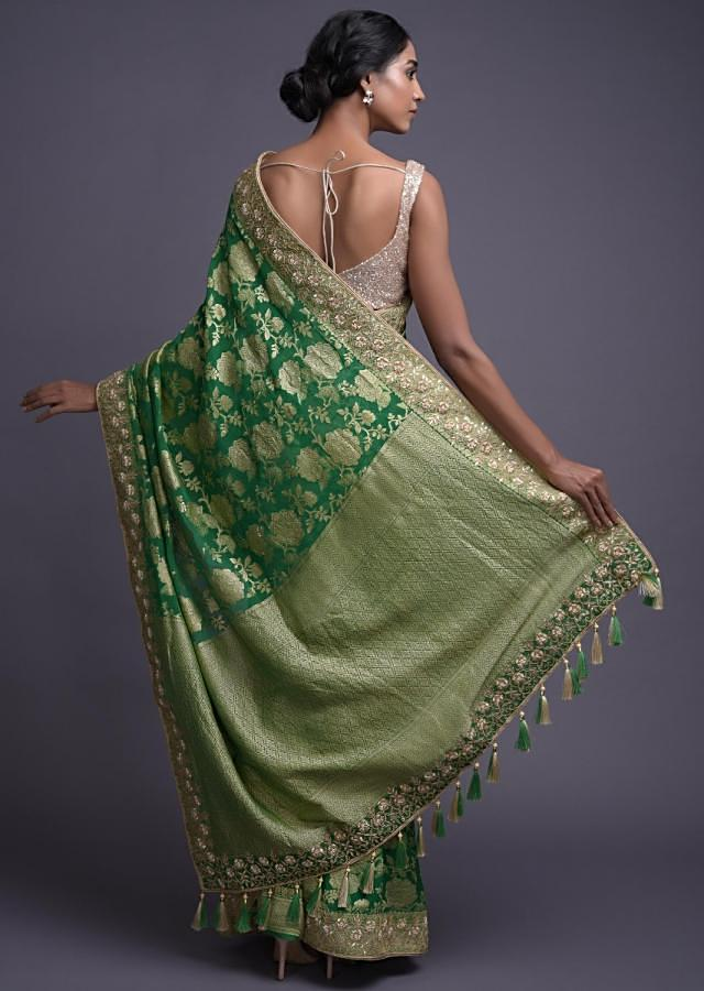 Grass Green Saree In Chiffon With Weaved Floral Jaal And Gotta Work Online - Kalki Fashion