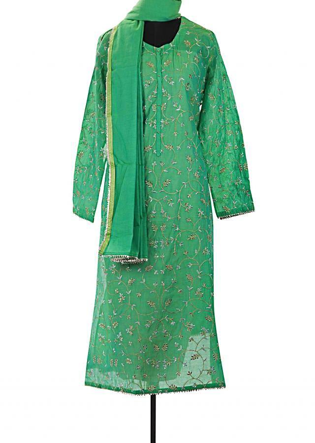 Grass green semi stitched suit in zari and gotta only on Kalki