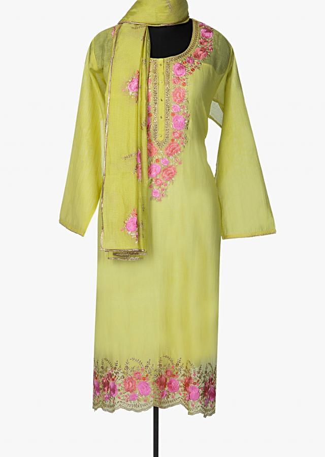 Grass green semi stitched suit with embroidered neckline and hem only on Kalki