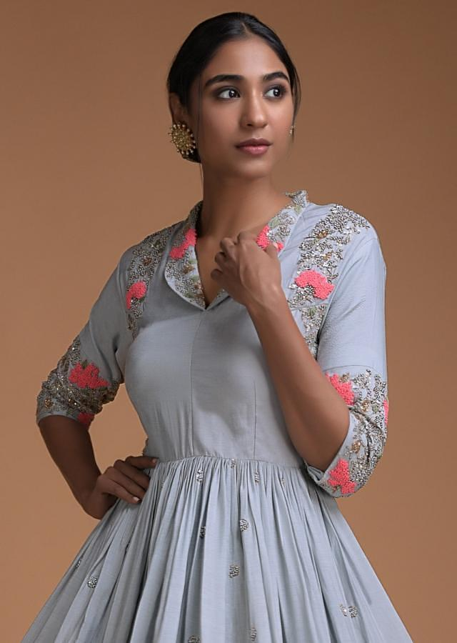 Grayish Blue Palazzo Suit With Peplum Top Having Floral Embroidery Online - Kalki Fashion