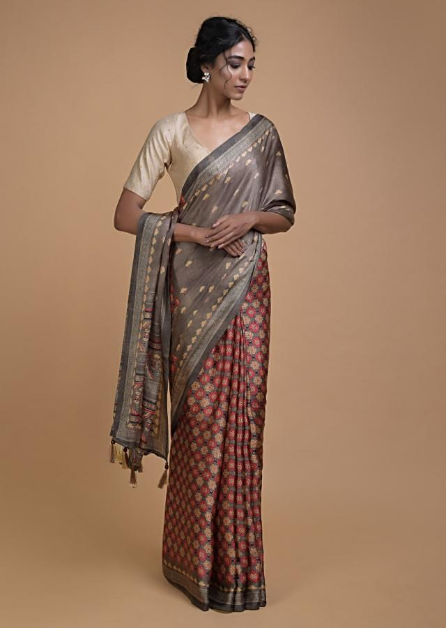 Grayish Brown Half And Half Saree With Printed Floral Buttis And Multi Colored Floral Jaal Online - Kalki Fashion