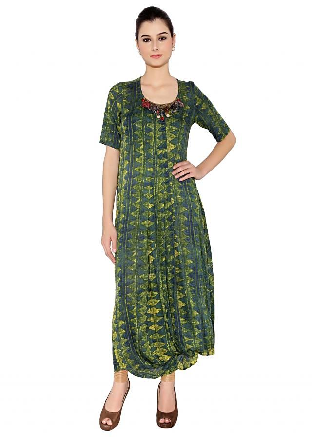 Green & Yellow Cotton Kurti With Balloon Style Hemline And Embellished Neckline Having Tassels Only On Kalki