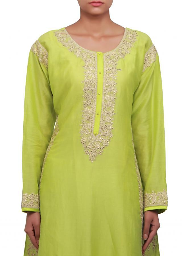 Green A line suit embellished in zari embroidery only on Kalki