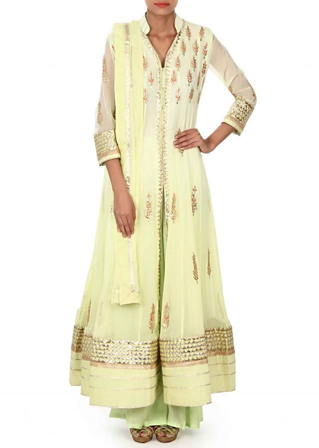 Light green anarkali suit in gotta patch embroidery only on Kalki