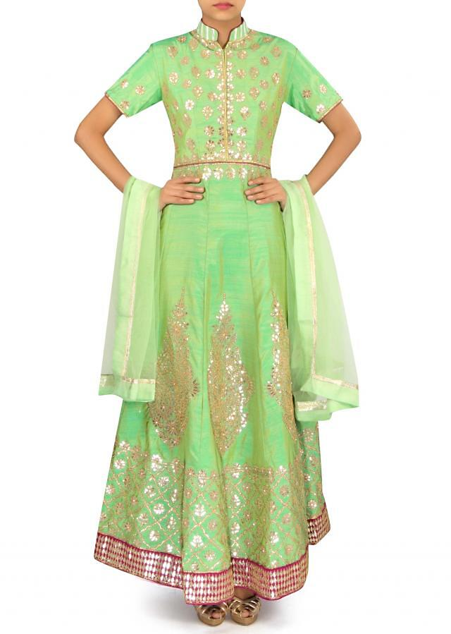 Green anarkali suit adorn in gotta patch embroidery only on Kalki
