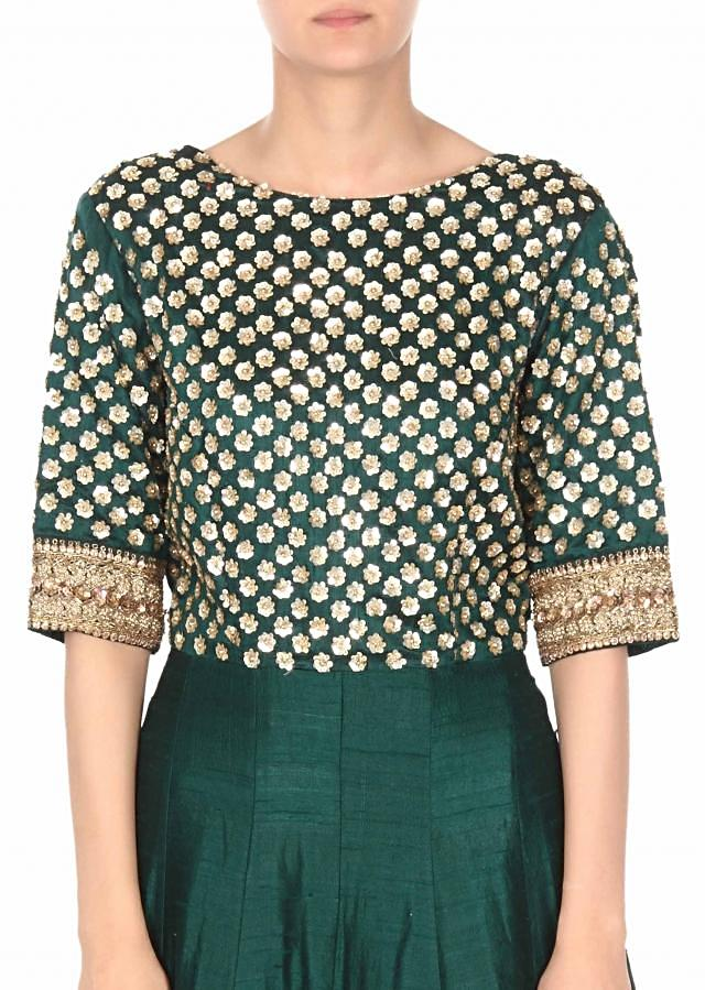 Green anarkali suit adorn in sequin embroidery only on Kalki