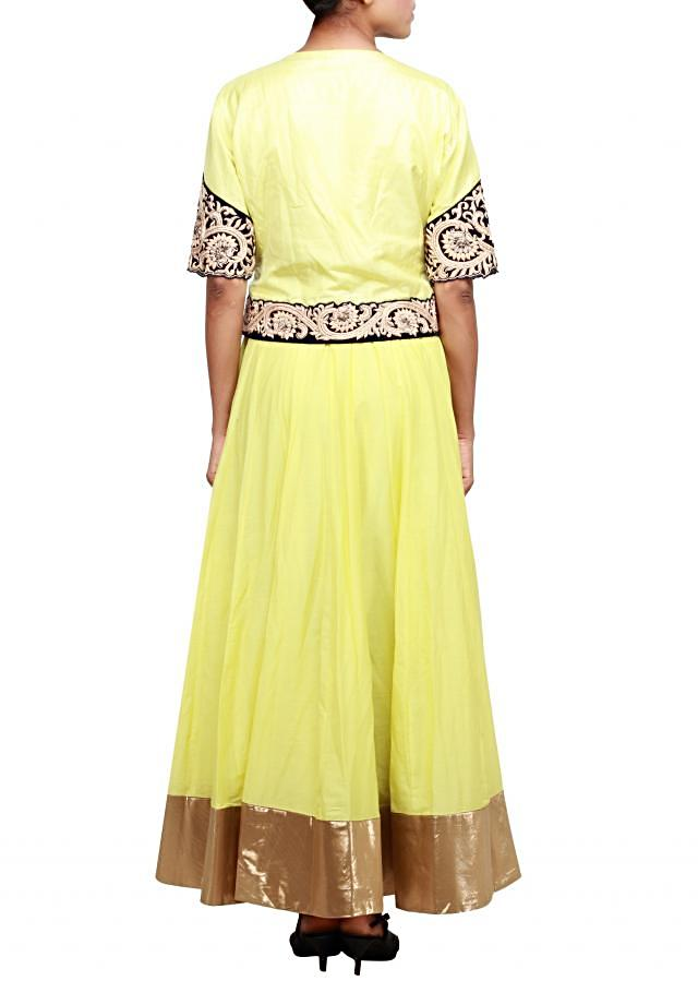 Green anarkali suit embellished in thread and zardosi only on Kalki