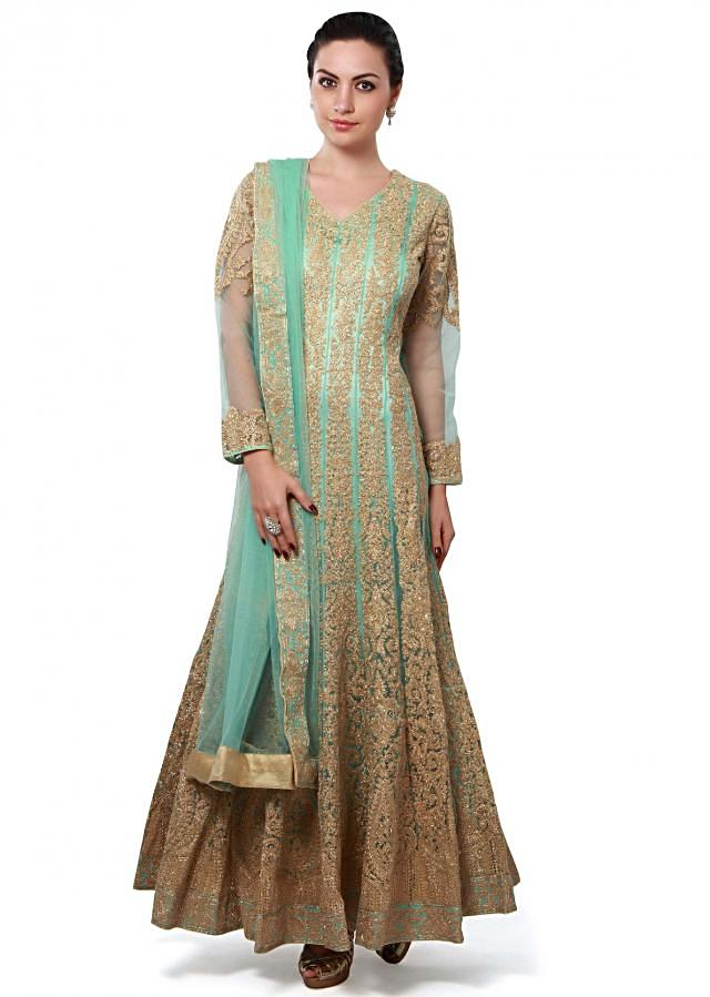 Green anarkali suit embellished in zari embroidery only on Kalki