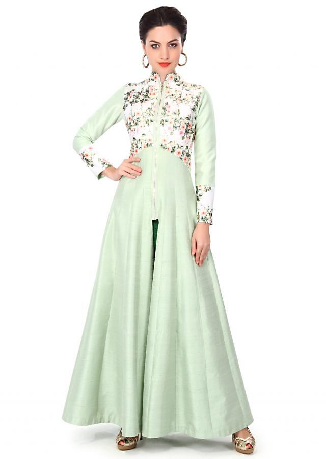 Green anarkali suit enhanced in printed bodice only on Kalki