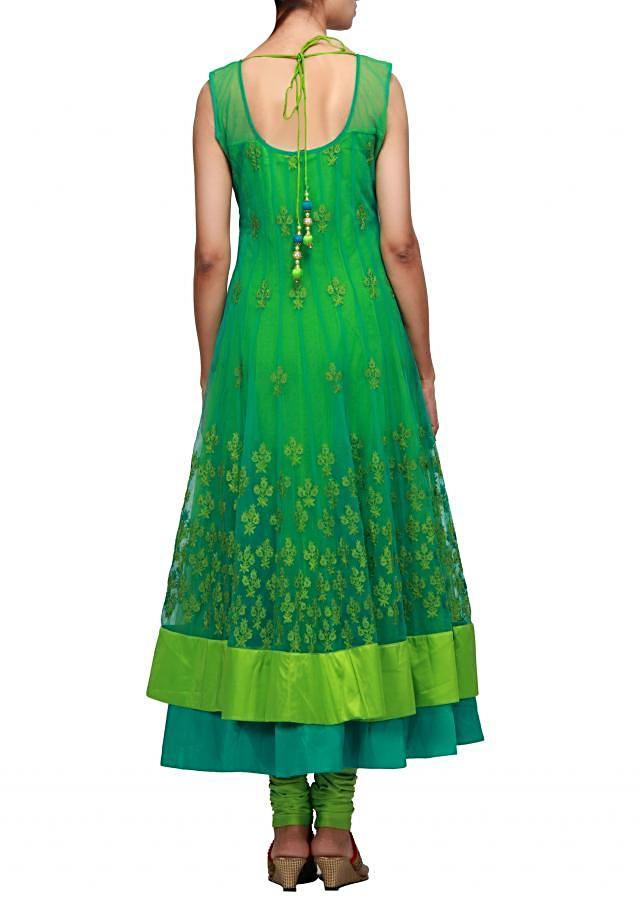 Green anarkali suit enhanced in thread embroidery
