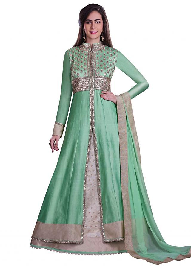 Green anarkali suit in gotta patch work with lehenga