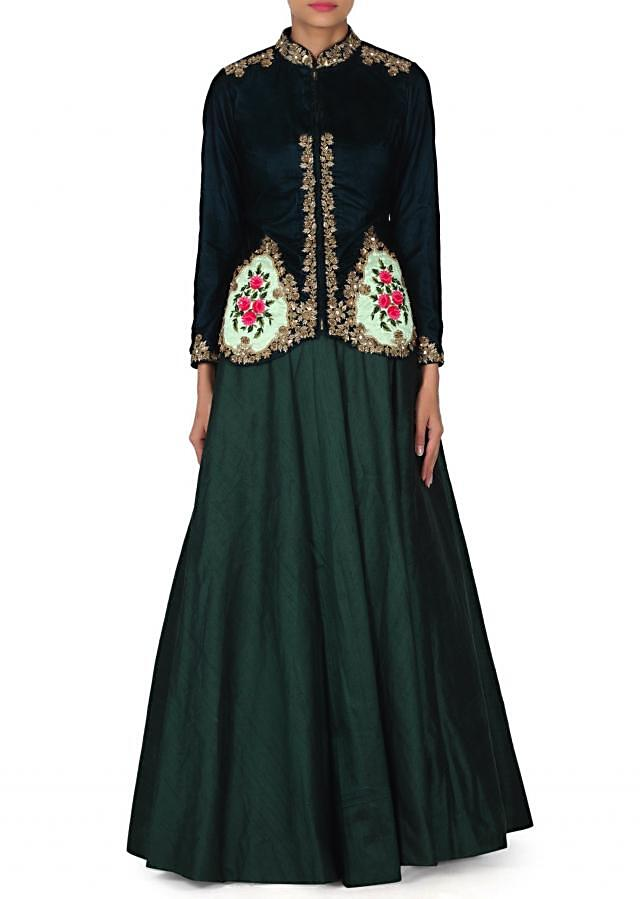 Green anarkali dress matched with embroidered jacket only on Kalki