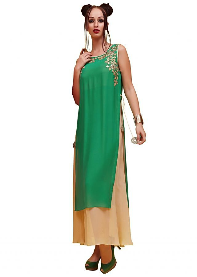 Green and beige kurti with mirror embroidered yoke