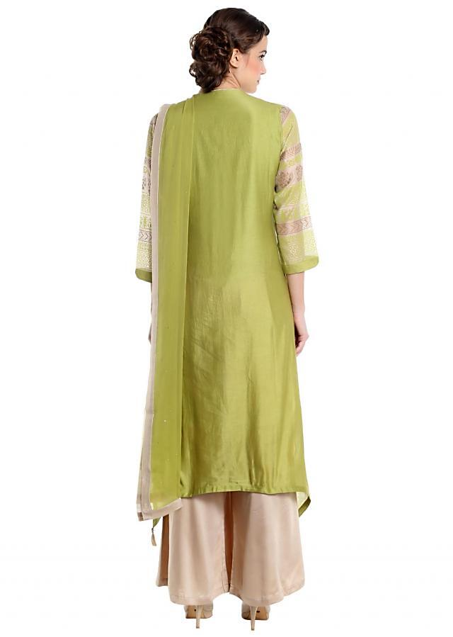 Green and beige suit in chanderi silk and cotton only on Kalki