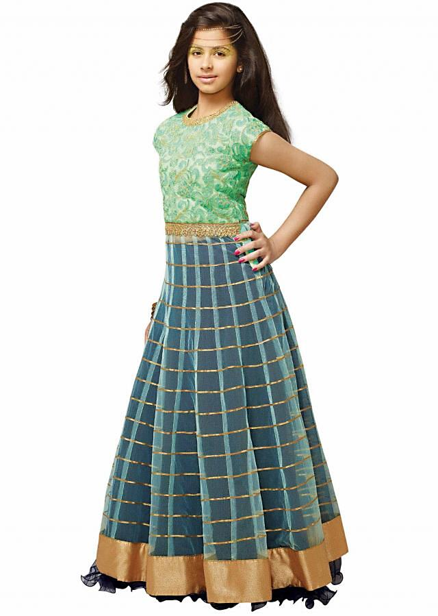 Green and blue long jacket lehenga adorn in thread and gotta patti lace