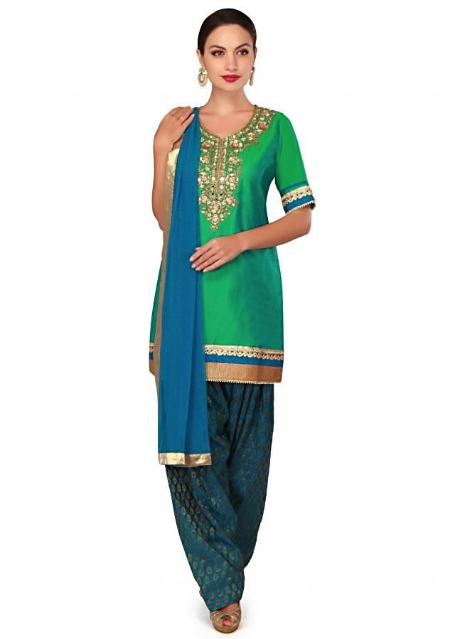 Green and blue patiyala suit with mirror and sequin work only on Kalki