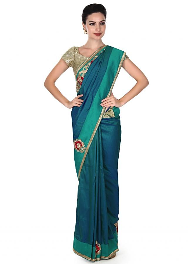 Green and blue saree with embroidered butti only on Kalki