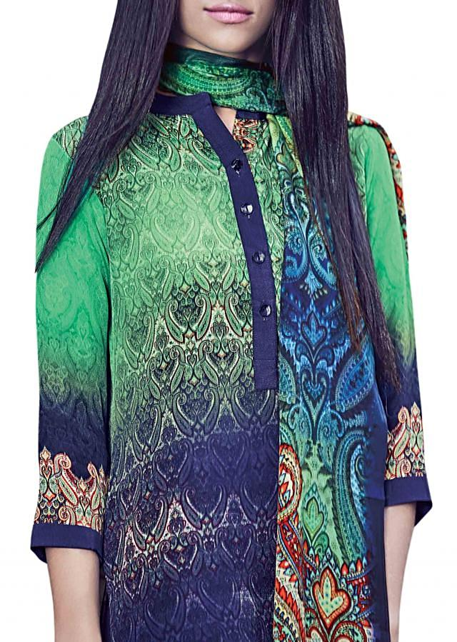 Green and blue shaded kurti with paisley printed scarf