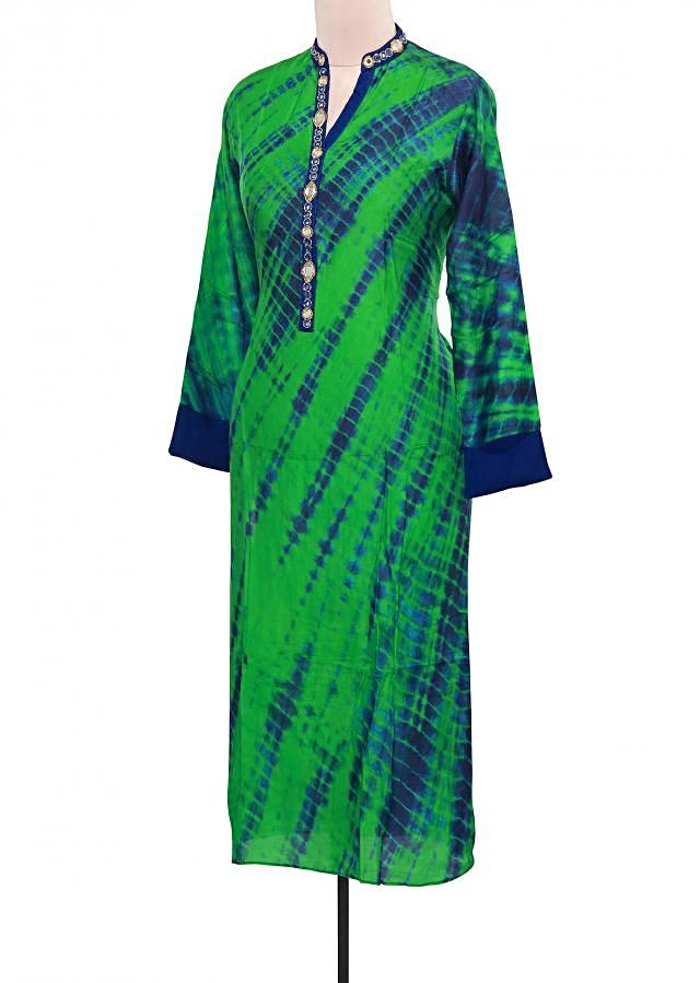 Green and blue tie and dye kurti adorn in mirror placket only on Kalki