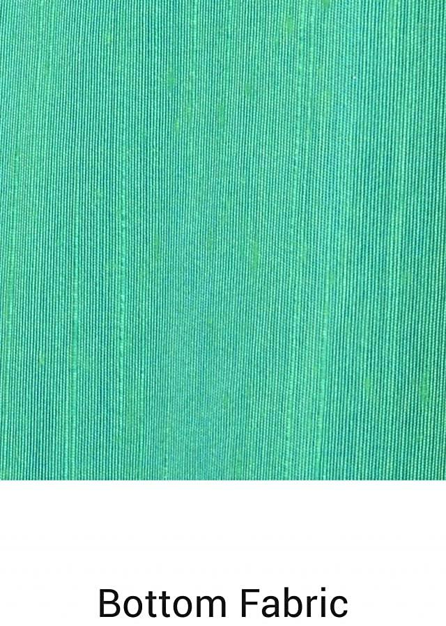 Green and blue unstitched suit in brocade border only on Kalki