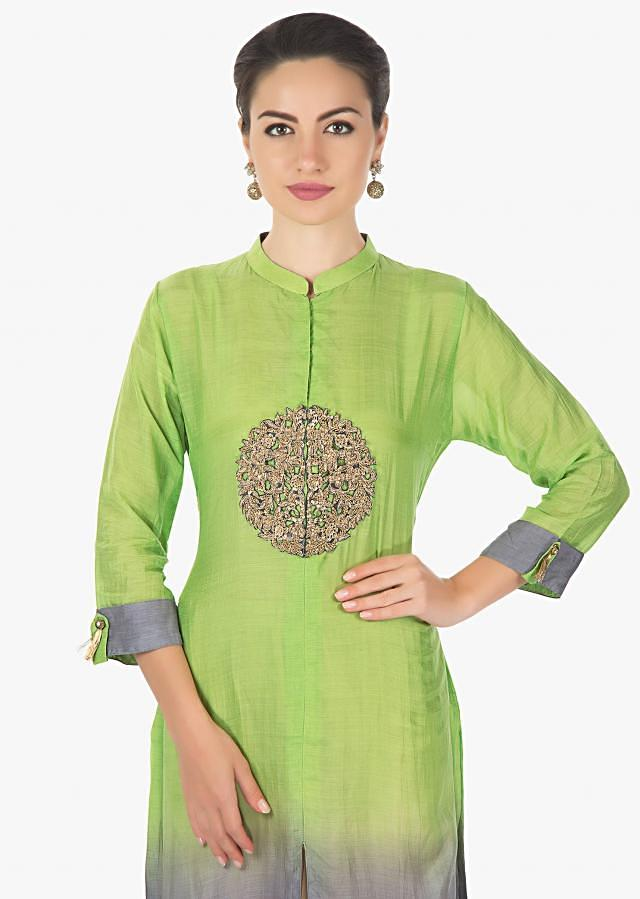 Green and grey kurti in mul cotton with zardosi cut work embroidery only on Kalki
